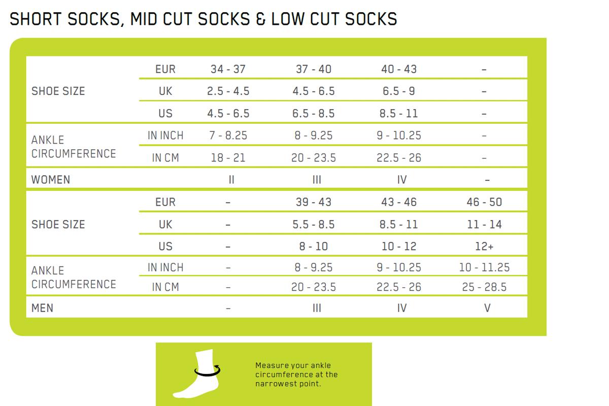 CEP socks sizing Chart